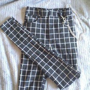 High waist grid print tight legging pants W chain